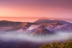 Mount Bromo twilight sky sunrise time with fog nature landscape. Background, Java, Indonesia royalty free stock photo