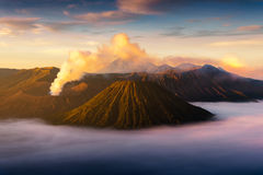 Mount Bromo volcano Gunung Bromo during sunrise from viewpoint Stock Images
