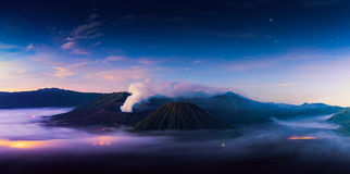 Mount Bromo volcano Gunung Bromo during sunrise from viewpoint Royalty Free Stock Photo