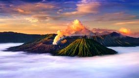 Mount Bromo volcano Gunung Bromo. During sunrise from viewpoint on Mount Penanjakan in Bromo Tengger Semeru National Park, East Java, Indonesia royalty free stock photo