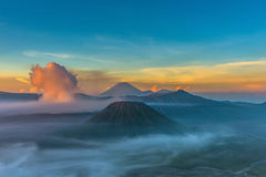 Mount Bromo volcano & x28;Gunung Bromo& x29; during sunrise from viewpoint Royalty Free Stock Images