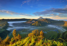 Mount Bromo volcano during sunrise Stock Photos