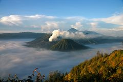 Mount Bromo volcano from viewpoint on Mount Penanjakan. stock image