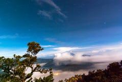 Mount Bromo volcanoes in Tengger Semeru National Park before sun Stock Photography