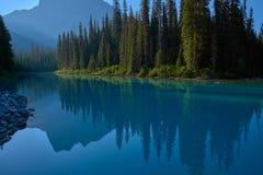 Mount burgess reflection, emerald lake stock image