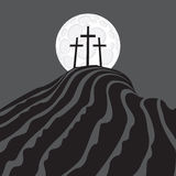 Mount Calvary. With three crosses at night under the moon Stock Photography