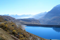Mount cenis lake. French alps stock images