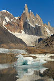 Mount Cerro Torre from lake Torre Stock Photos