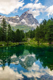 Mount Cervino and Blue Lake Stock Photography