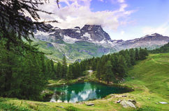 Mount Cervino and Blue Lake, Aosta Valley Royalty Free Stock Image