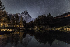 Mount Cervino and Blue Lake in an autumn night Royalty Free Stock Photo