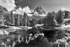 Mount Cervino and Blue Lake Royalty Free Stock Image