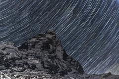 Mount Cervino and stary sky Royalty Free Stock Photo