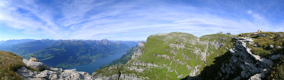 Mount Cheeseback. View from Mount Cheeseback (Chäserugg) to lake Walensee and the beginning of the Swiss alps. It is the area of the Heidi tale Royalty Free Stock Image