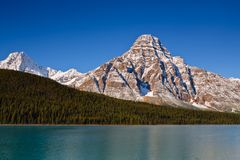 Mount Chephren and Waterfowl Lake. Icefields Parkway, Banff National Park, Alberta, Canada stock images