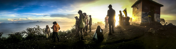 Mount Cikuray. Mountain climbing is a lifestyle sport involving hiking and trekking through rugged terrain, camping, climbing over rocks, fallen trees and logs Stock Photography