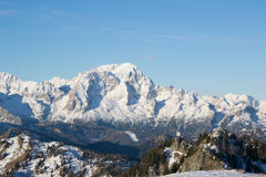 Mount Civetta in winter season. Mount Civetta viewd from Mount Rite during winter Stock Image