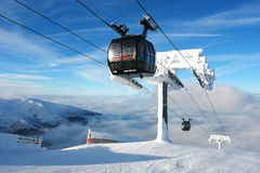 Mount, clouds and lift Funitel in Jasna. Royalty Free Stock Photography
