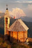 Mount Col DI Lana with chapel and Monte Pelmo Stock Photos