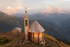 Mount Col DI Lana Monte Pelmo and mount Civetta. Evening view from mount Col DI Lana with chapel to Monte Pelmo and mount Civetta, one of the best view in Stock Photography