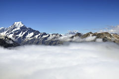 Mount Cook above clouds blanket, New Zealand. Stock Photography