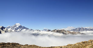Mount Cook above clouds blanket, New Zealand. Stock Images