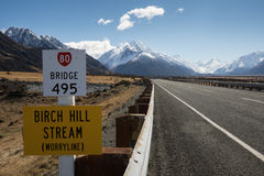 Mount Cook (Aoraki) Road Royalty Free Stock Photos