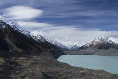 Mount Cook/Aoraki, Tasman Glacier and Tasman Lake, New Zealand  Royalty Free Stock Photo