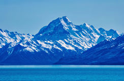 Mount Cook on a Clear Day. Mount Cook Mountain Range is in view on the other side of Lake Pukaki on a beautiful spring day Royalty Free Stock Image