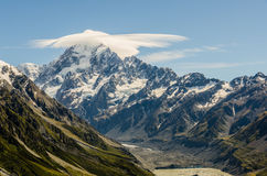 Mount Cook with cloud at the summit, New Zealand. Mt Cook is a New Zealand landmark Stock Photos