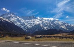 Mount Cook covered in snow on a sunny day, South Island, New Zealand stock photos