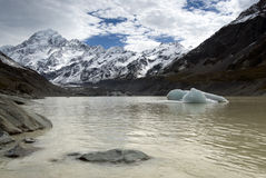 Mount Cook form Hooker Lake, National Park, New Zealand Royalty Free Stock Images