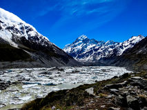 Mount Cook with glacier lake. Royalty Free Stock Image