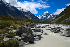 Mount Cook. Hiking trail towards Mount Cook on New Zealand Stock Photo