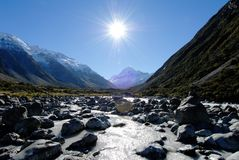 Mount Cook and Hooker River,New Zealand. Mount Cook (inscribed on the UNESCO World Heritage list) and Hooker River viewed from Hooker Valley Track,New Zealand Royalty Free Stock Photography