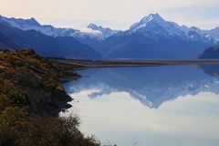 Mount cook of lake pukaki Stock Photo
