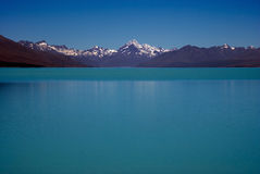 Mount Cook and lake Pukaki Stock Photos