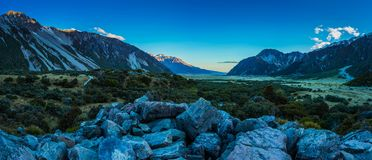 Mount Cook mt valley. Mount Cook mount valley New Zealand sunset view Stock Photography