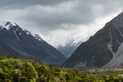 Mount Cook National Park in a cloudy day Royalty Free Stock Images