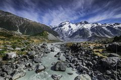 Mount Cook National Park featuring snow, mountains and tranquil scenes d.y. Mount Cook National Park featuring snow, mountains and tranquil scenes, New Zealand d Stock Image