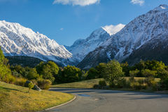 Mount Cook National Park View, New Zealand. Amazing view of Mount Cook from the Hermitage Hotel entrance road, New Zealand Royalty Free Stock Photos