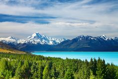 Mount Cook, New Zealand. Mount Cook and Pukaki lake, New Zealand royalty free stock photo