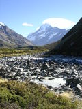 Mount Cook, New Zealand. Mount Cook / Mount Aoraki as seen from the Hooker Valley, Aoraki Mount Cook National Park, New Zealand Royalty Free Stock Images