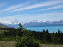Mount Cook New Zealand. Scenic view of Mount Cook with lake in foreground, South Island, New Zealand Stock Photography