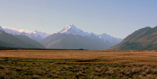 Mount Cook, New Zealand. At sunset Stock Photos