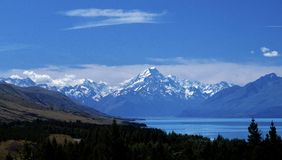 Mount Cook New Zealand. Scenic view of Mount Cook with lake in foreground, South Island, New Zealand Royalty Free Stock Image