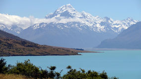 Mount Cook, New Zealand. New Zealand's higuest mountain in a sunny day Royalty Free Stock Images