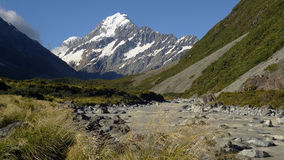 Mount Cook, New Zealand. New Zealand's higuest mountain in a sunny day Stock Images