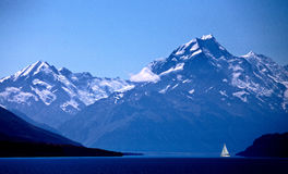 Mount Cook New Zealand sailboat. Mount Cook New Zealand National Park Southern Alps Stock Images