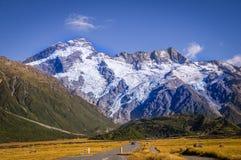 Mount Cook, New Zealand. Street leading towards Mount Cook, New Zealand Royalty Free Stock Image